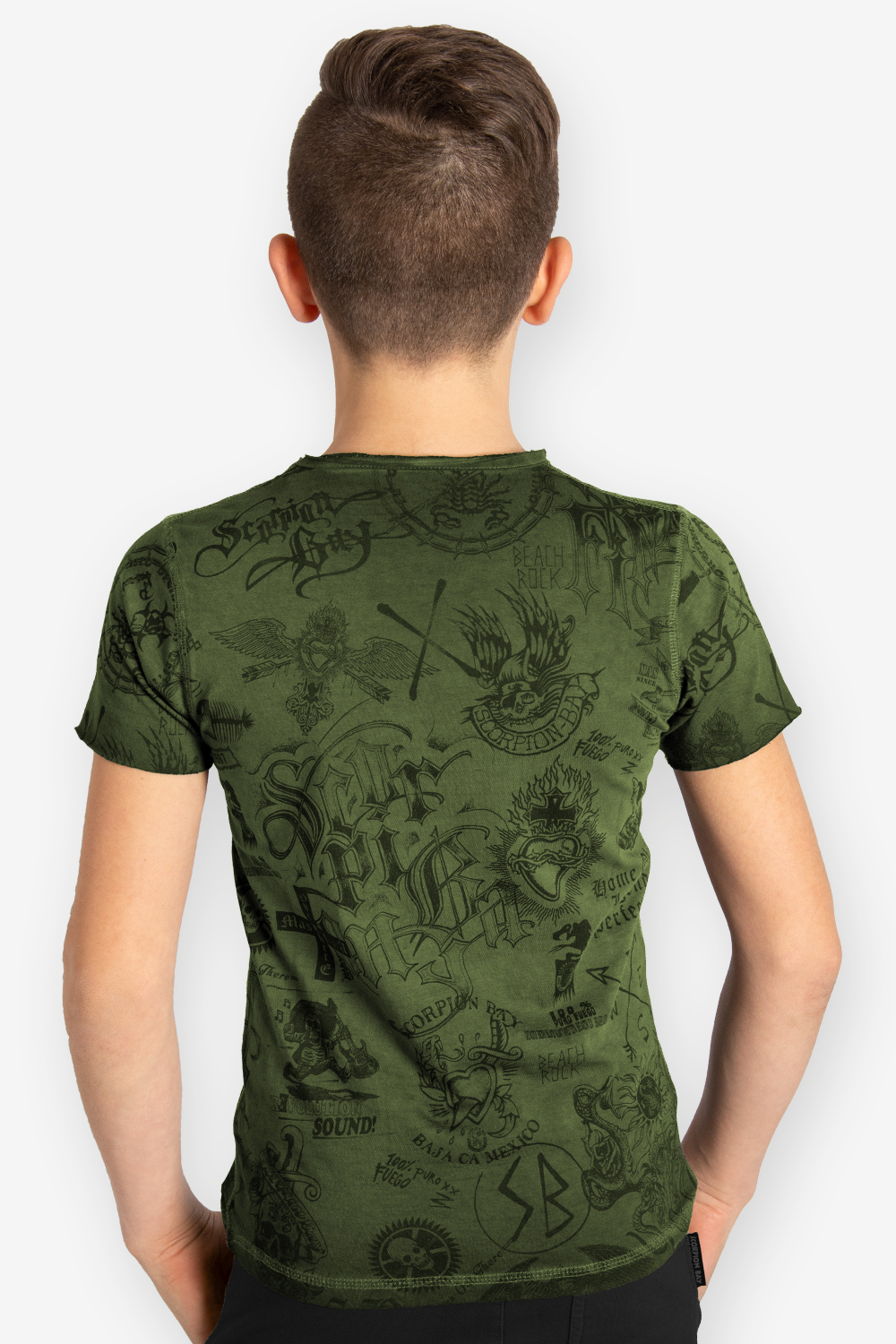 T-shirt Manica Corta per Boys Double Face 100% Cotone TATTOO